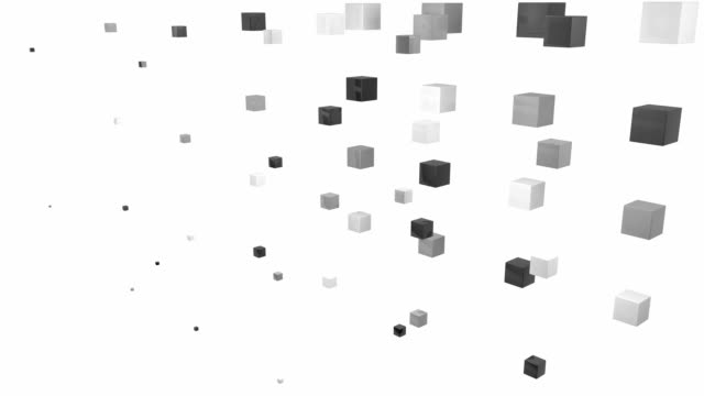 abstract blocks wave - black and white (full hd) - cube stock videos & royalty-free footage