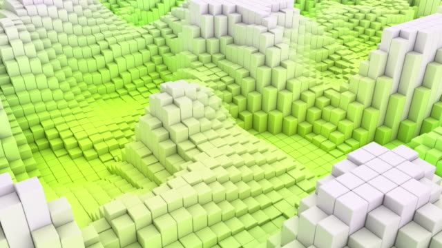 4k abstract blocks wave loop - side view green (with rf music track) - color block stock videos and b-roll footage