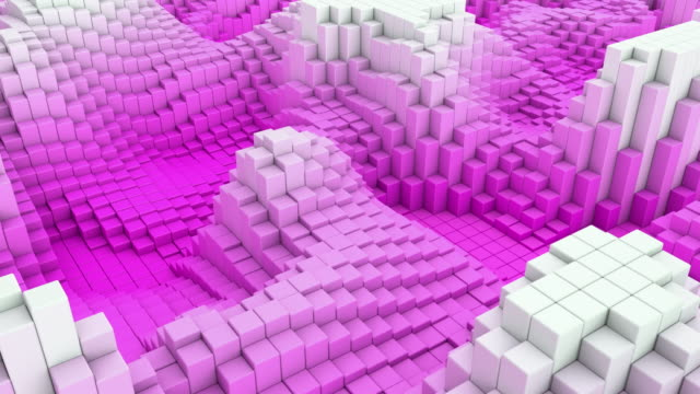 4k abstract blocks wave loop - side view pink (with rf music track) - color block stock videos and b-roll footage