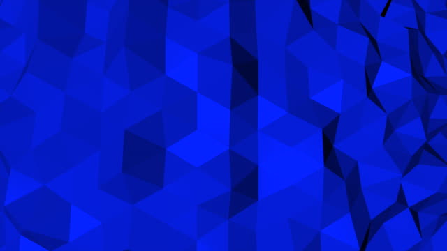 Abstract Blue and black geometric triangle Polygon background in endless loop, 4K(UHD)