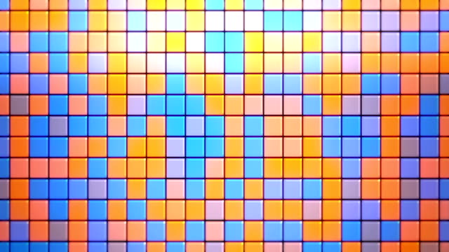 abstract blue and orange square tiles loopable background - flooring stock videos & royalty-free footage