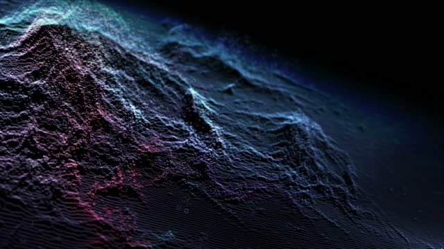 vidéos et rushes de vague abstraite de particules numériques de couleur bleue avec le fond de mouvement de poussière et de lumière - nombre