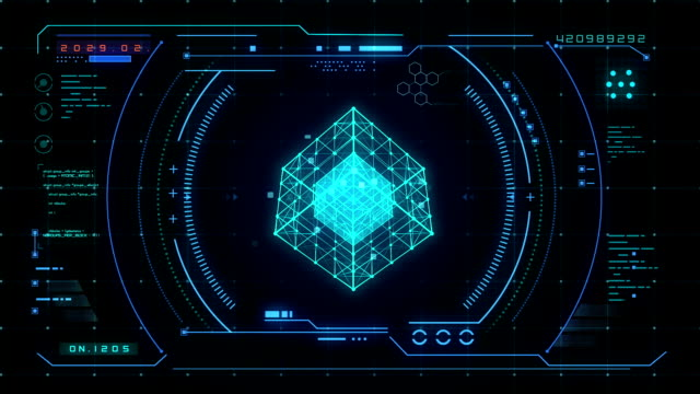 abstract blue futuristic interface loading - pannello di controllo video stock e b–roll