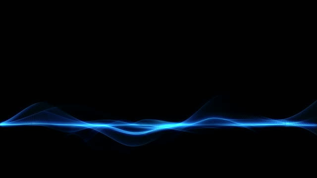 abstract blue futuristic wave form on dark background - striped stock videos and b-roll footage