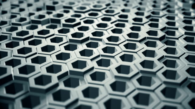 abstract blue hex shapes (loopable) - hexagon stock videos & royalty-free footage