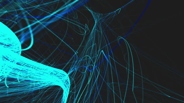 abstract blue lines animation motion effect on dark background - line art video stock e b–roll