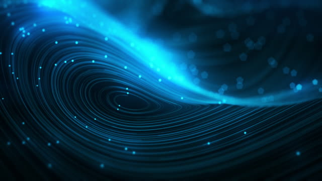 abstract blue swirly lines with glowing points loopable background - noise video stock e b–roll