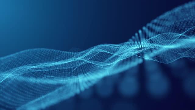 vídeos y material grabado en eventos de stock de partícula de onda azul abstracta sobre fondo oscuro con efecto de luz, conexión de tecnología digital y concepto de innovación - con lunares