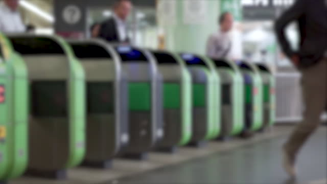 abstract blur train ticket gate . - underground train stock videos & royalty-free footage