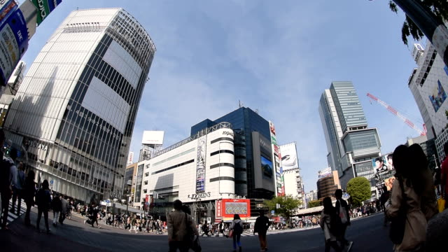 Abstrakt verschwommen Hintergrund der Fußgänger Überqueren Sie in Shibuya-Kreuzung mit Fischaugen-Objektiv Wirkung, Tokio, Japan
