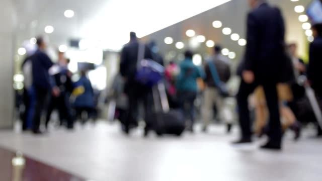 abstract blurred background of traveler crowd at shin osaka station gate, japan - shinkansen stock videos & royalty-free footage
