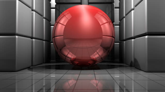 Abstrakte Feld mit roter moving ball