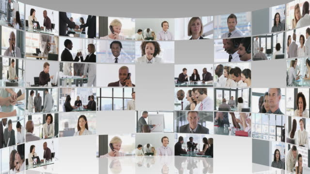 cu zo cgi abstract business montage of people at work / cape town, south africa - film montage stock videos & royalty-free footage