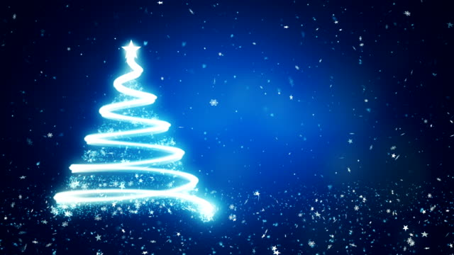 abstract christmas tree in blue background - christmas stock videos & royalty-free footage