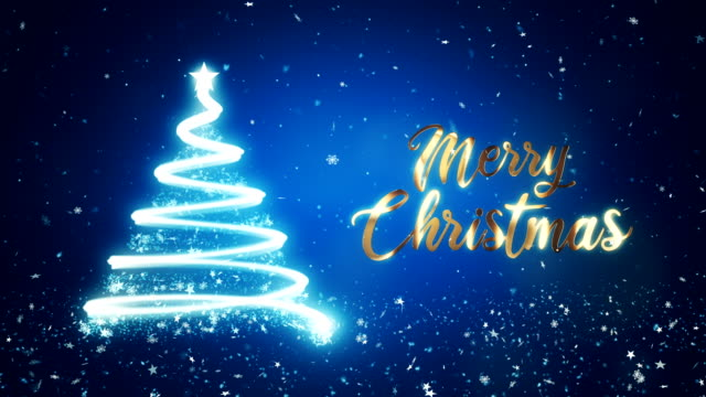 abstract christmas tree in blue background with gold merry christmas text. - christmas card stock videos & royalty-free footage