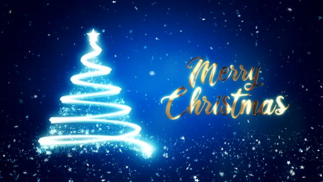 金のメリークリスマステキストと青い背景に抽象的なクリスマスツリー。 - クリスマスカード点の映像素材/bロール
