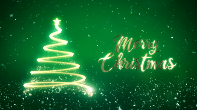 abstract christmas tree in green background with gold merry christmas text. - christmas card stock videos & royalty-free footage