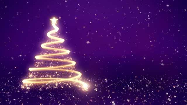 abstract christmas tree in purple background - purple stock videos & royalty-free footage