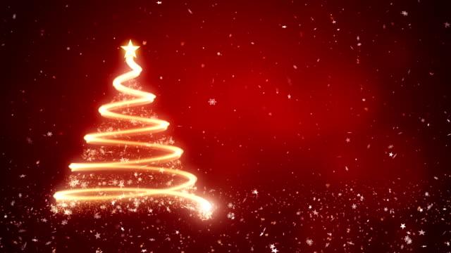 赤い背景に抽象的なクリスマスツリー - クリスマスカード点の映像素材/bロール