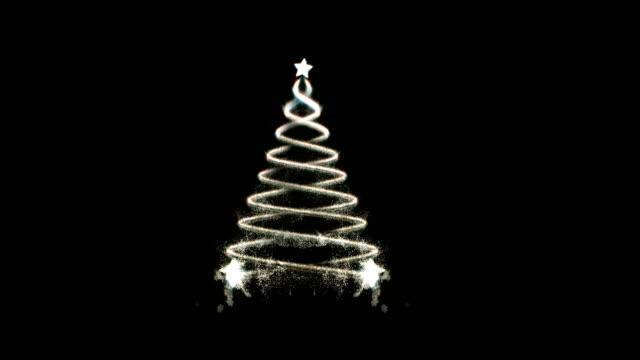 vídeos de stock e filmes b-roll de abstract christmas tree with particle - claro