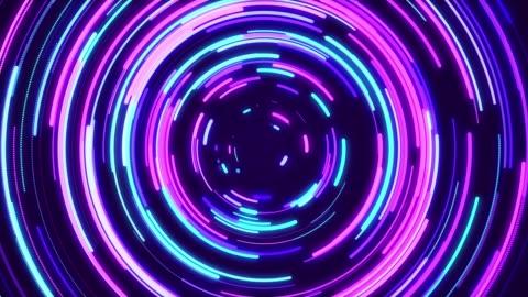 vídeos y material grabado en eventos de stock de círculo abstracto luces de neón fondo loopable - letrero de neón
