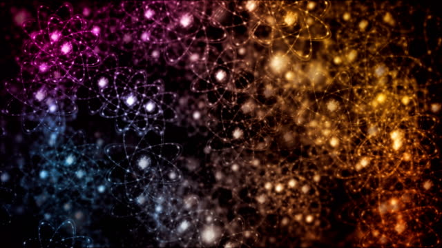 Abstract colorful atoms motion background