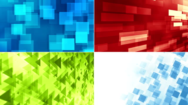 abstract colorful different geometric shapes (triangles, rectangles, blocks, cubes, boxes) backgrounds with copy space. a collage of four different videos. - computer graphic stock videos & royalty-free footage