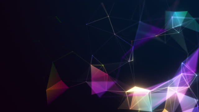 abstract colorful technology background with geometric patterns - multi coloured stock videos & royalty-free footage