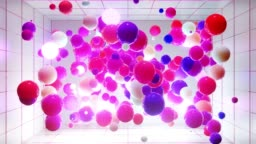 Abstract composition of colorful balls in air, which randomly light up and reflect in each other. Multicolored spheres in air as simple geometric light background with light effects. In light room