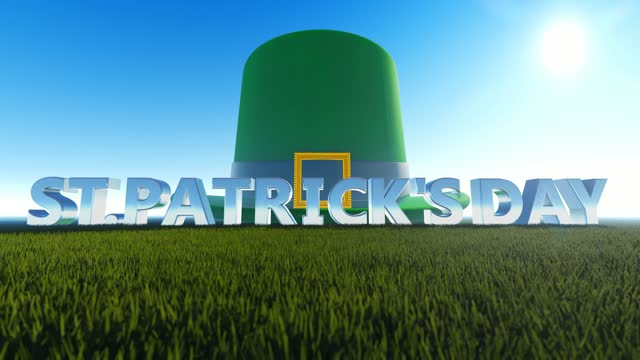 abstract concept for st's patrick day with big green hat background - march month stock videos & royalty-free footage