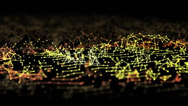 abstrakte verbindungen und punkte bewegen sich auf dunklem hintergrund, futuristischetechnologie konzept - drahtrahmenmodell stock-videos und b-roll-filmmaterial