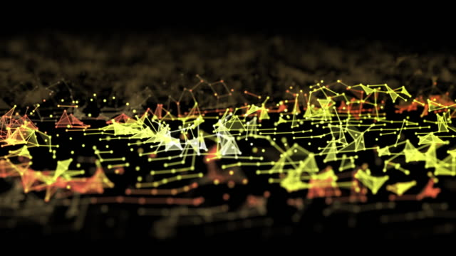 abstract connections and dots moving on dark background, futuristic technology concept - ingrandimento su vasta scala video stock e b–roll