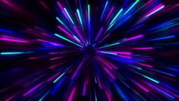 Abstract creative cosmic background. Hyper jump into another galaxy. Speed of light, neon glowing rays in motion.