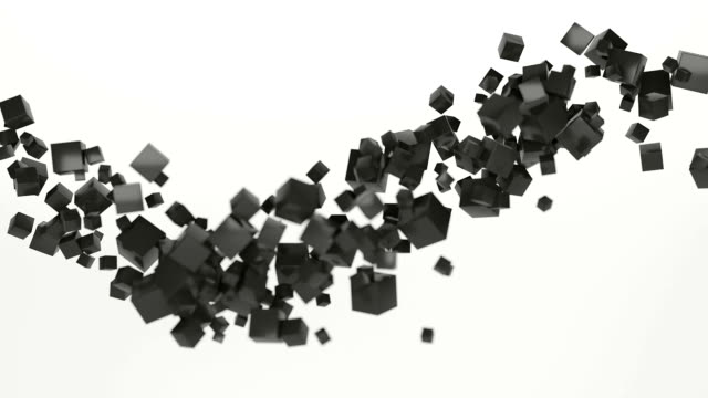 abstract cube particle cloud flyby slow moving