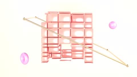 vidéos et rushes de abstract cube forme filature rendu couleur rose orange forme géométrique motion graphique 3d - apesanteur