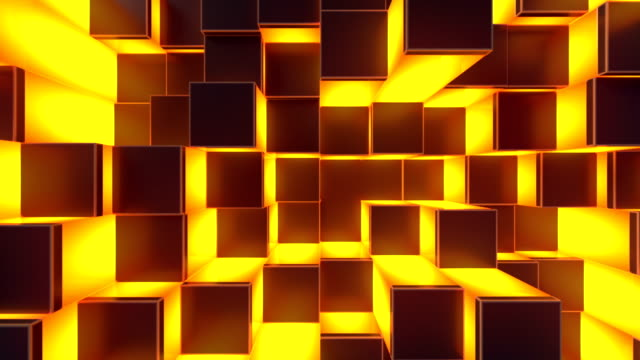Abstract cubes move. Loopable 3d animation background.