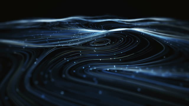 abstract curved lines background - particle stock videos and b-roll footage