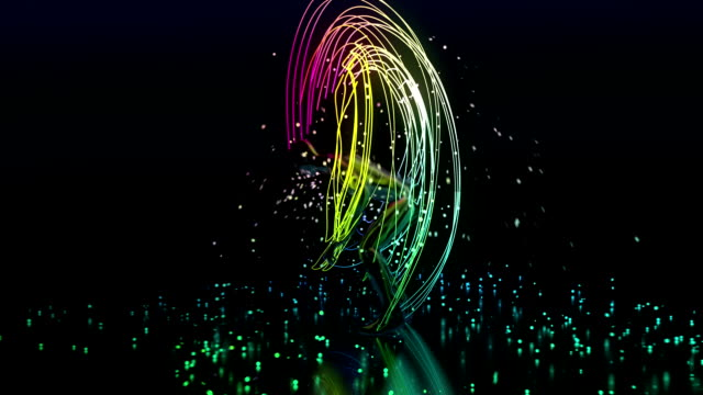abstract dancer with light beams and particles - tipo di danza video stock e b–roll