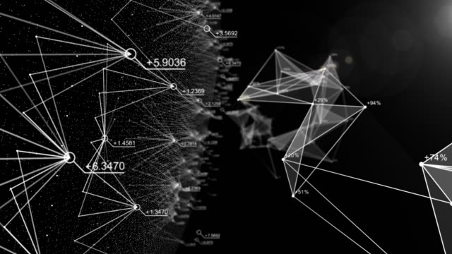 Abstrakte Daten und Verbindung im Cyber-Space mit Zufallszahl, fliegen, Cyberspace, Geschäfts- und Finanzkonzept