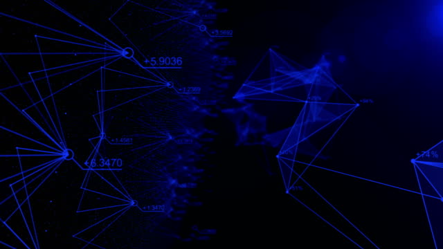 Abstract data and connection in cyber space with random number, flying to cyber space, business and financial concept