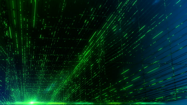 Abstract Data Flowing in Futuristic Fiber Optic Tunnel, Technology Background