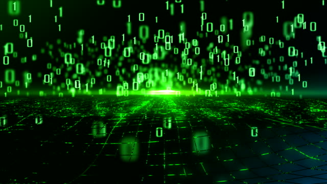 vídeos de stock e filmes b-roll de abstract data flowing in futuristic fiber optic tunnel, technology background - código binário