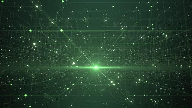 abstract data grid - loopable - technologie, big data, digitale innovation - grün - fluchtpunktperspektive stock-videos und b-roll-filmmaterial