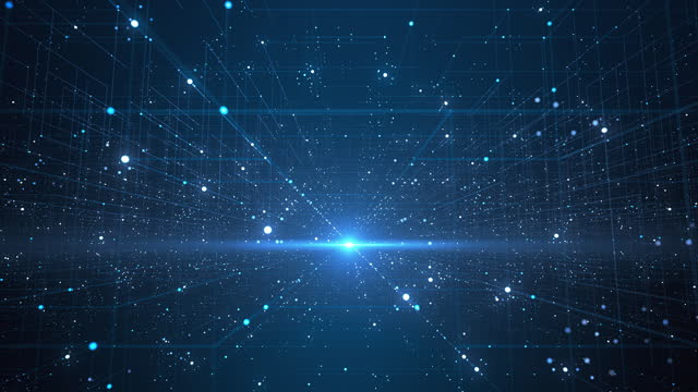 abstract data grid - loopable - technology, big data, digital innovation - blue - information medium stock videos & royalty-free footage