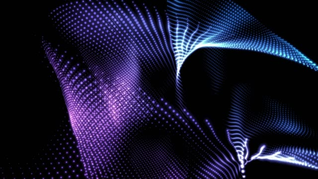 vídeos de stock e filmes b-roll de 4k abstract digital background animation loopable elements, digital wave particles form concept - purple