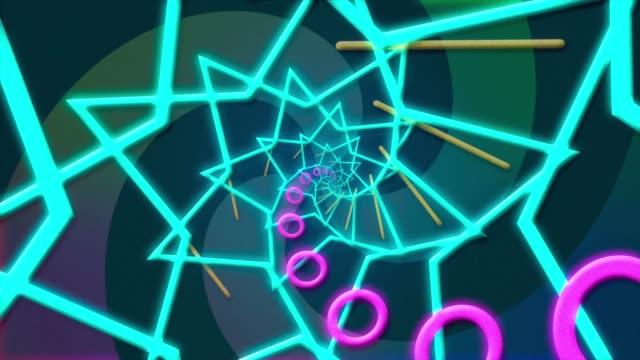 stockvideo's en b-roll-footage met abstracte digitale achtergrond met neonvormen sterren - stervorm