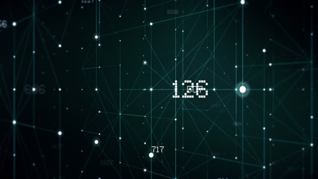 abstract digital code numbers in wire grid background