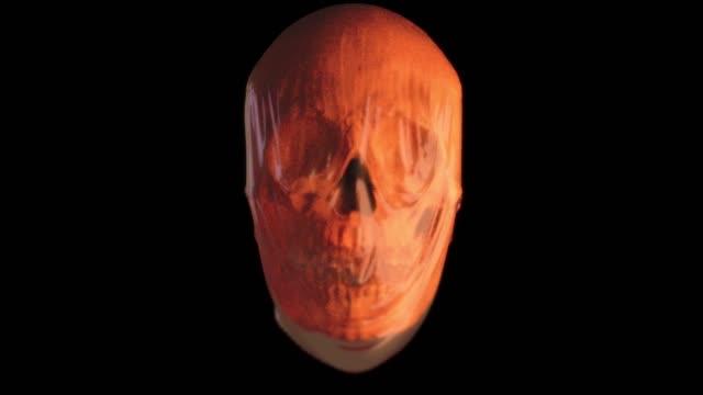 stockvideo's en b-roll-footage met abstracte digitale illustratie van 3d teruggeven van een kleurrijke hoofdbuste met gezicht weg tonend schedel binnen. - cerebellum