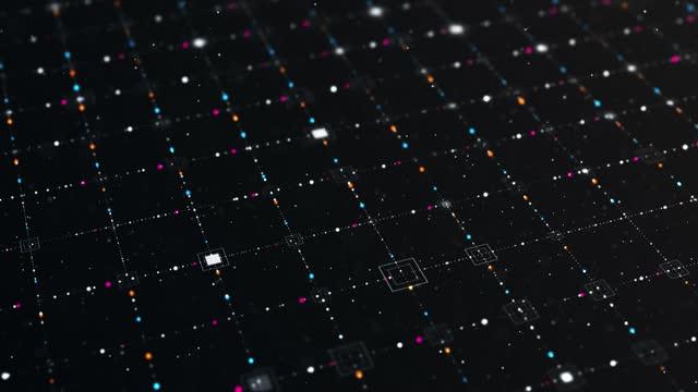 vidéos et rushes de flux abstrait de particules numériques, cyberespace numérique, fond de connexion numérique de technologie - structure physique