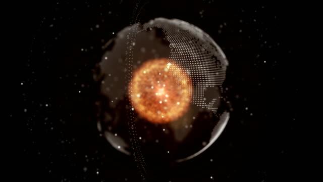 abstrakte punkte partikel erde form mit red core, technologie-konzept - film filmtechnik stock-videos und b-roll-filmmaterial